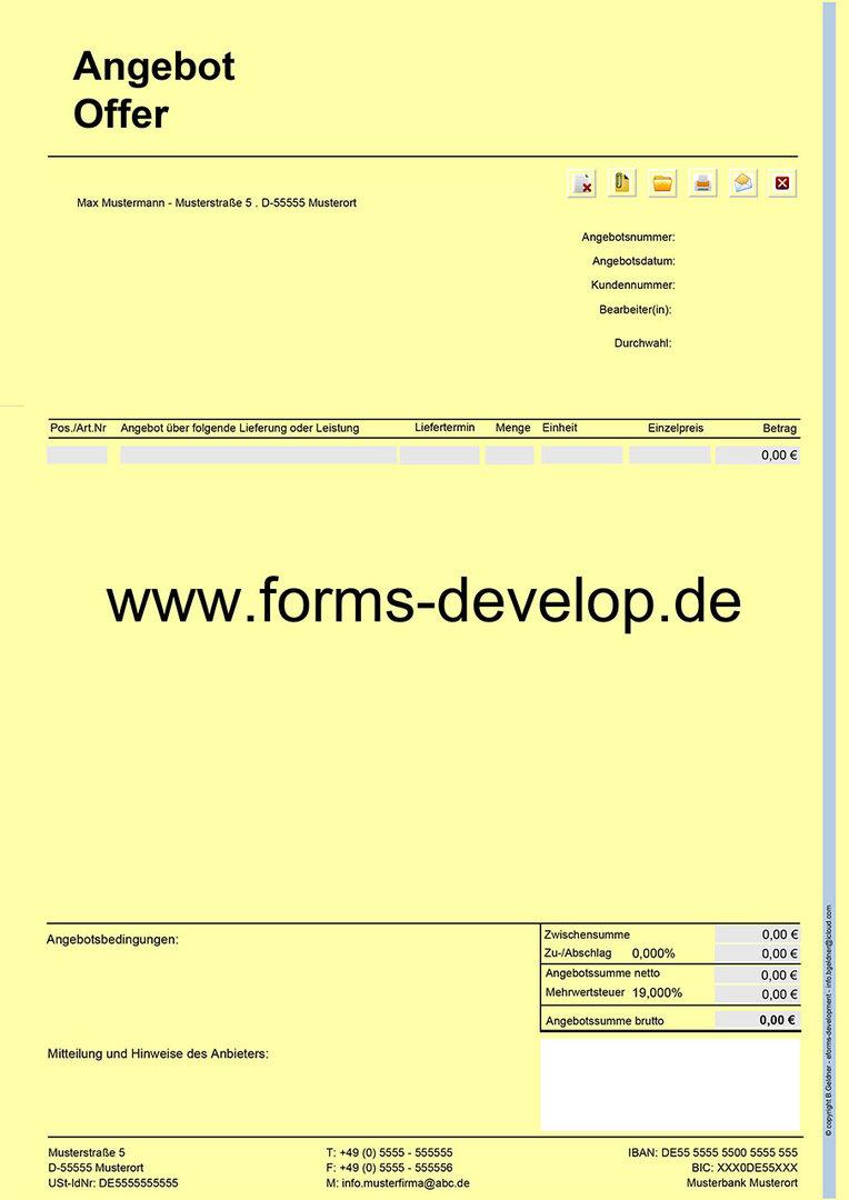 angebotserstellung angebot pdf formular a4h. Black Bedroom Furniture Sets. Home Design Ideas
