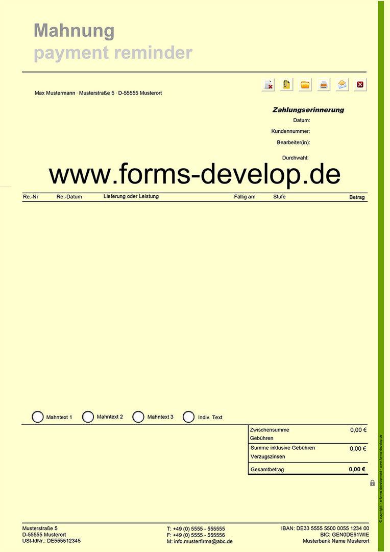 Mahnung Mit Mahntexte Pdf Formular A4h Standard Aktionsware
