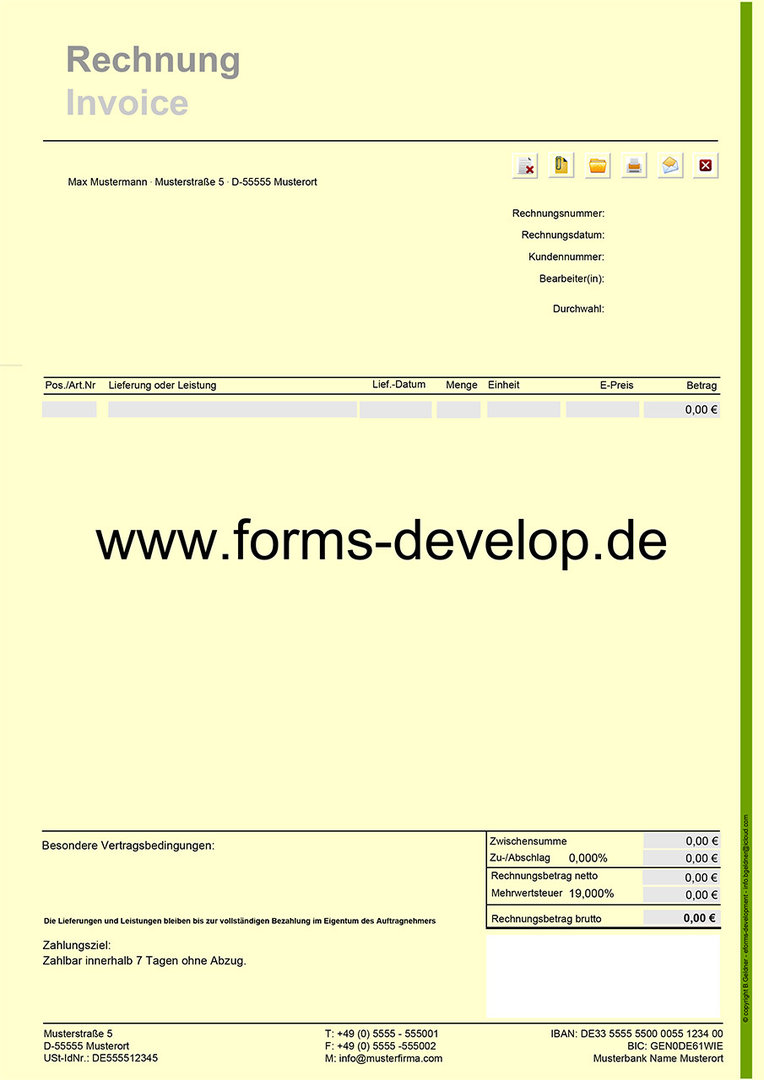 rechnung fakturierung pdf formular a4h standard. Black Bedroom Furniture Sets. Home Design Ideas