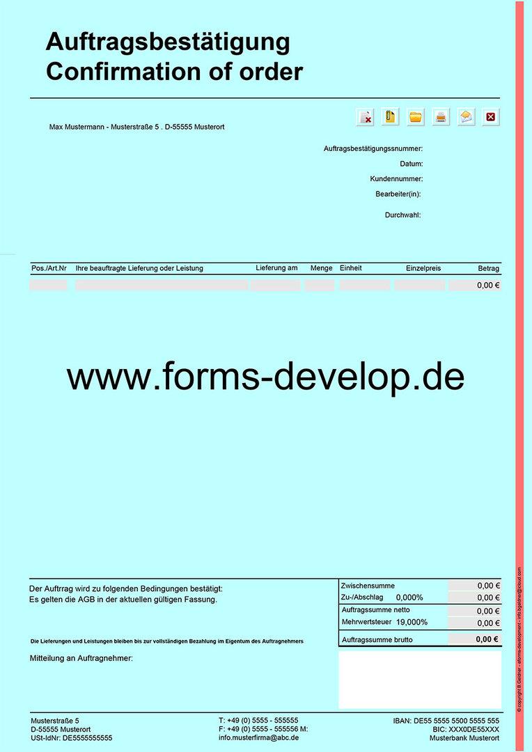 auftragsbest tigung pdf formular a4h standard aktionsware. Black Bedroom Furniture Sets. Home Design Ideas