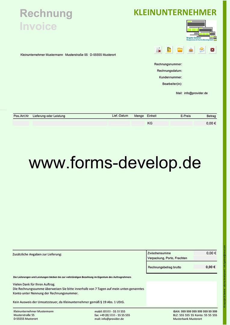 Rechnung Kleinunternehmer Pdf Formular A4h Standard Aktionsware