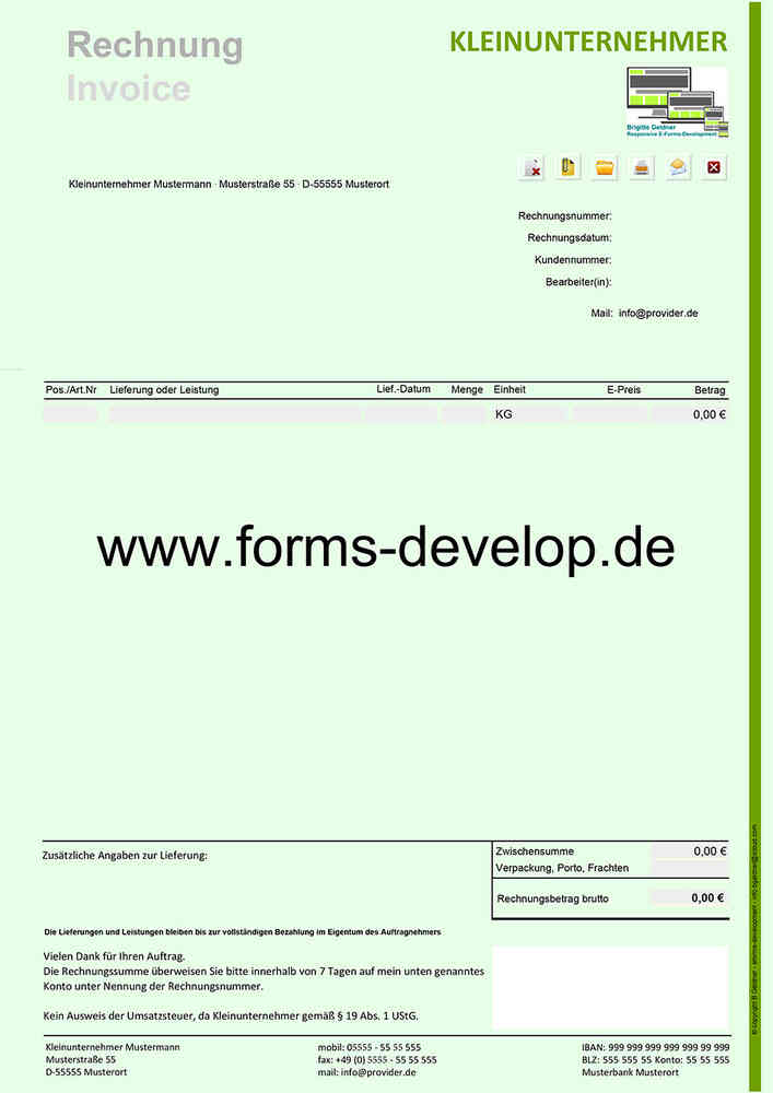 Rechnung Kleinunternehmer Pdf Formular A4h