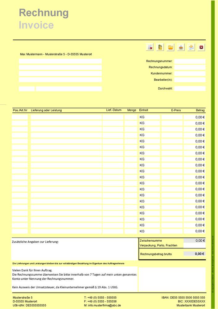 Rechnungsformular Für Kleinunternehmer Im Pdf Format Din A4h